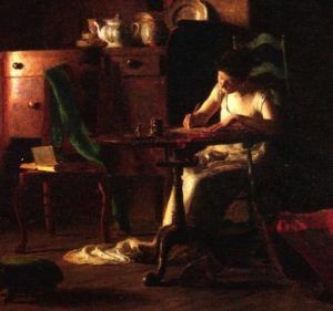 Woman writing at a table by Thomas Anshutz